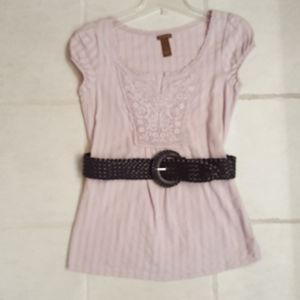 COPPER KEY LIGHT PLUM COLOR BELTED LACE FRONT TOP